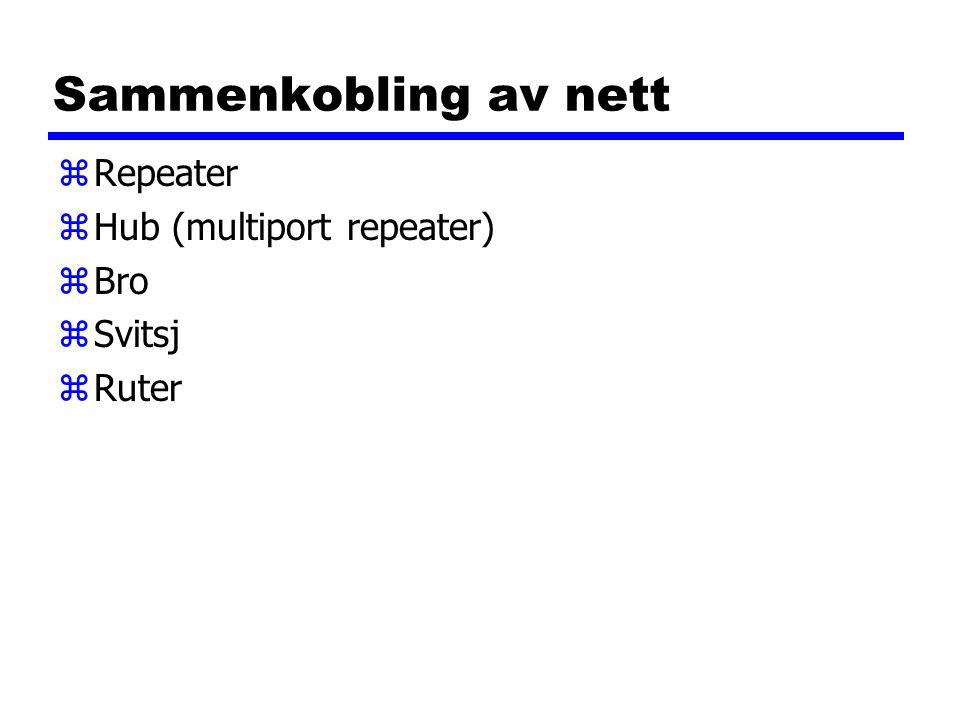 Sammenkobling av nett zRepeater zHub (multiport repeater) zBro zSvitsj zRuter