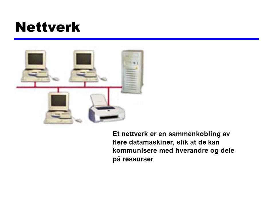 Nettverk Et nettverk er en sammenkobling av flere datamaskiner, slik at de kan kommunisere med hverandre og dele på ressurser