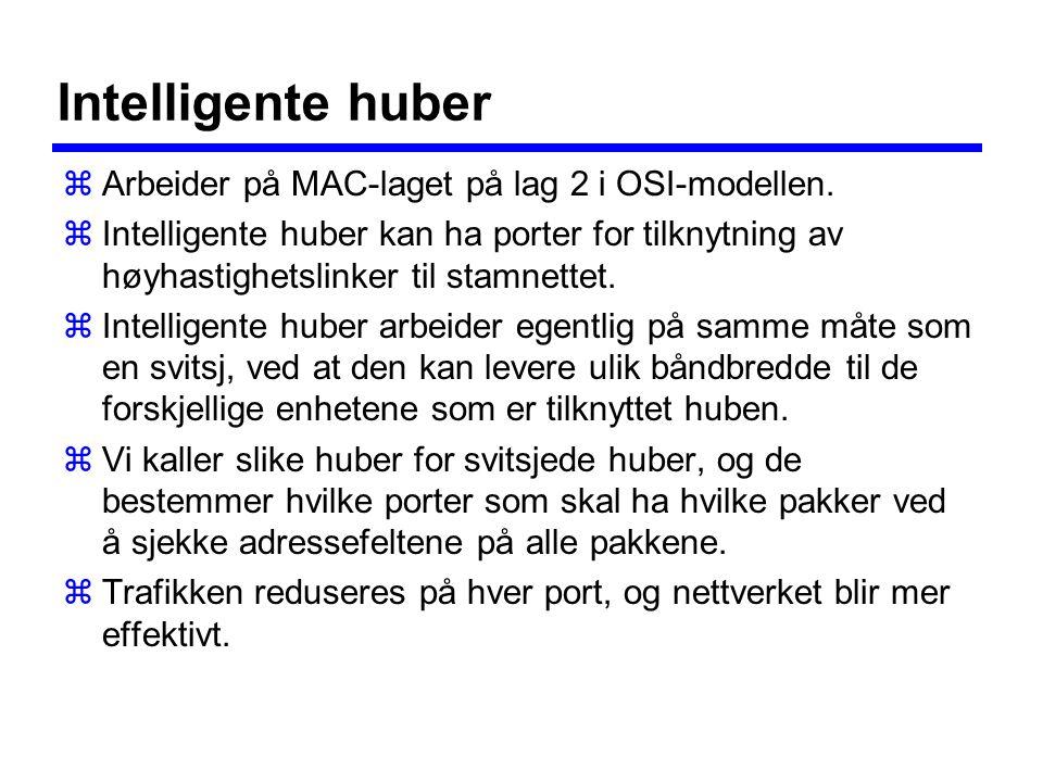 Intelligente huber zArbeider på MAC-laget på lag 2 i OSI-modellen.