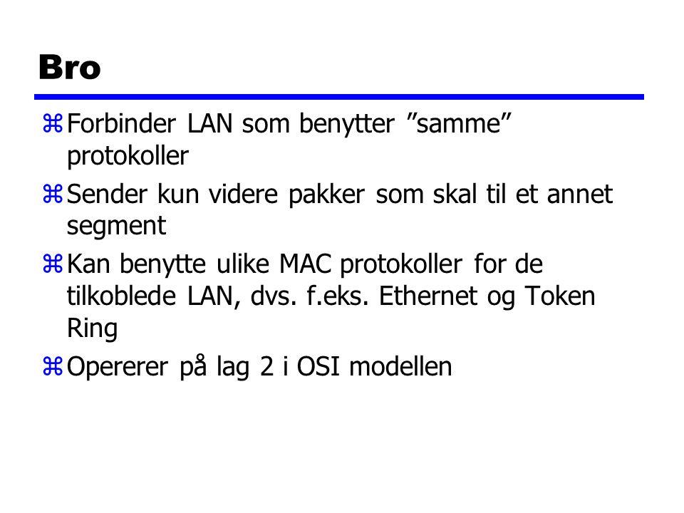 Bro zForbinder LAN som benytter samme protokoller zSender kun videre pakker som skal til et annet segment zKan benytte ulike MAC protokoller for de tilkoblede LAN, dvs.
