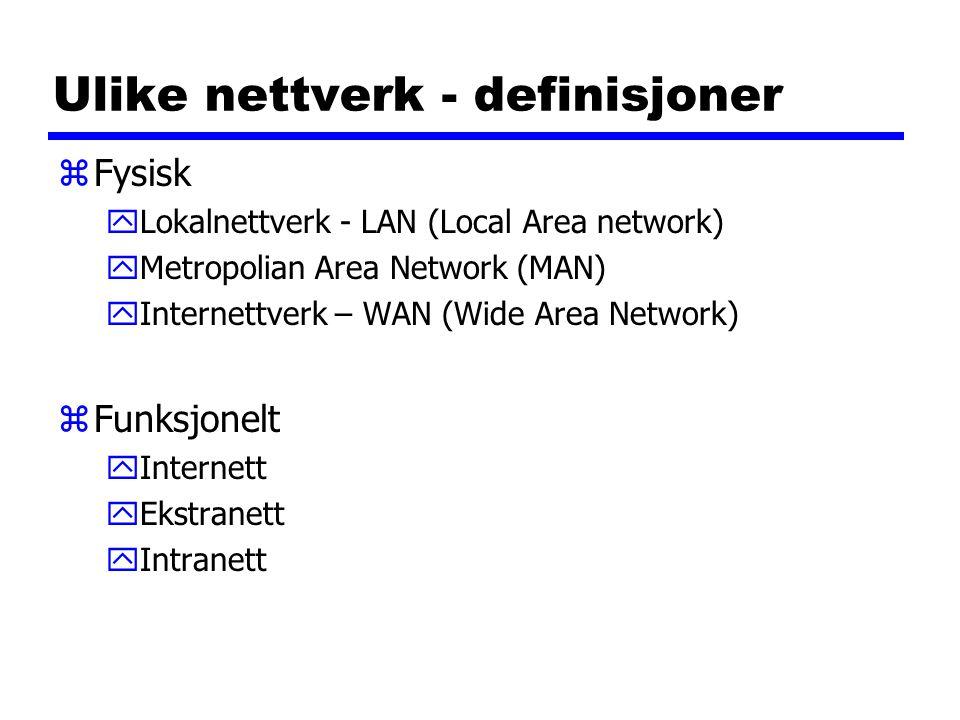 Ulike nettverk - definisjoner zFysisk yLokalnettverk - LAN (Local Area network) yMetropolian Area Network (MAN) yInternettverk – WAN (Wide Area Network) zFunksjonelt yInternett yEkstranett yIntranett