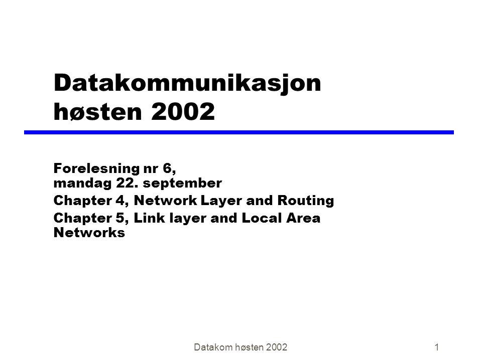 Datakom høsten 20021 Datakommunikasjon høsten 2002 Forelesning nr 6, mandag 22.