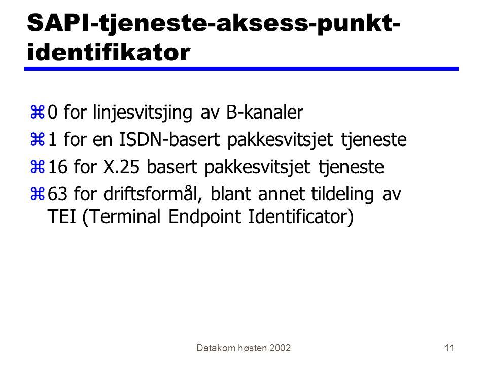 Datakom høsten 200211 SAPI-tjeneste-aksess-punkt- identifikator z0 for linjesvitsjing av B-kanaler z1 for en ISDN-basert pakkesvitsjet tjeneste z16 for X.25 basert pakkesvitsjet tjeneste z63 for driftsformål, blant annet tildeling av TEI (Terminal Endpoint Identificator)