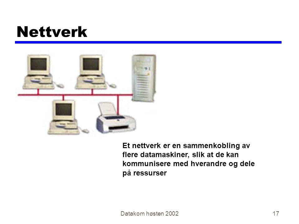 Datakom høsten 200217 Nettverk Et nettverk er en sammenkobling av flere datamaskiner, slik at de kan kommunisere med hverandre og dele på ressurser