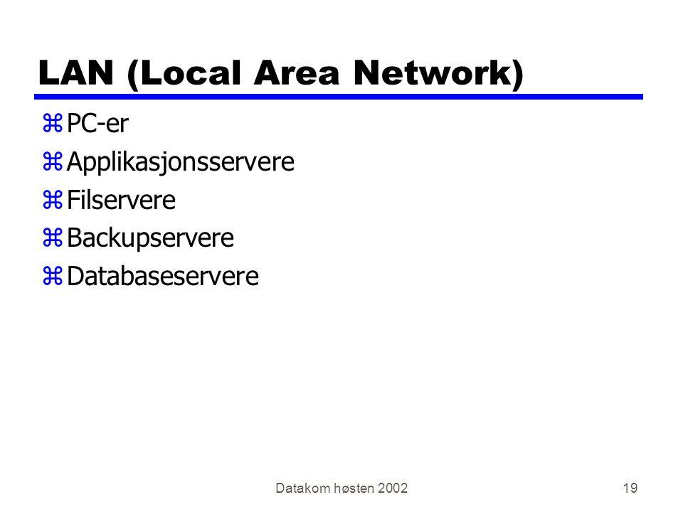 Datakom høsten 200219 LAN (Local Area Network) zPC-er zApplikasjonsservere zFilservere zBackupservere zDatabaseservere