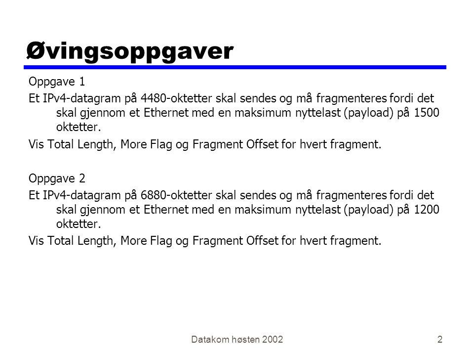 Datakom høsten 20022 Øvingsoppgaver Oppgave 1 Et IPv4-datagram på 4480-oktetter skal sendes og må fragmenteres fordi det skal gjennom et Ethernet med en maksimum nyttelast (payload) på 1500 oktetter.