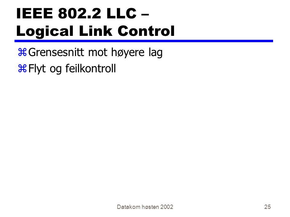 Datakom høsten 200225 IEEE 802.2 LLC – Logical Link Control zGrensesnitt mot høyere lag zFlyt og feilkontroll