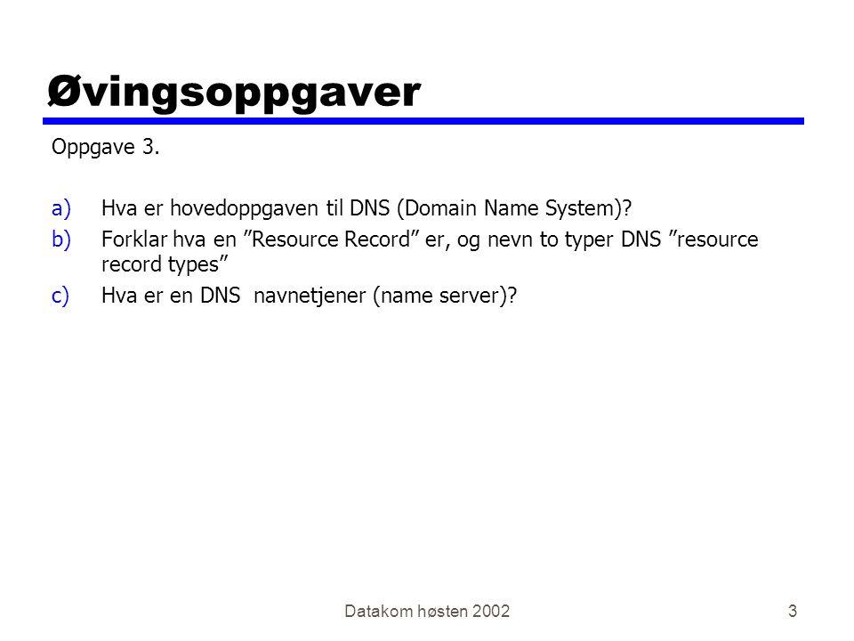 Datakom høsten 20023 Øvingsoppgaver Oppgave 3. a)Hva er hovedoppgaven til DNS (Domain Name System).