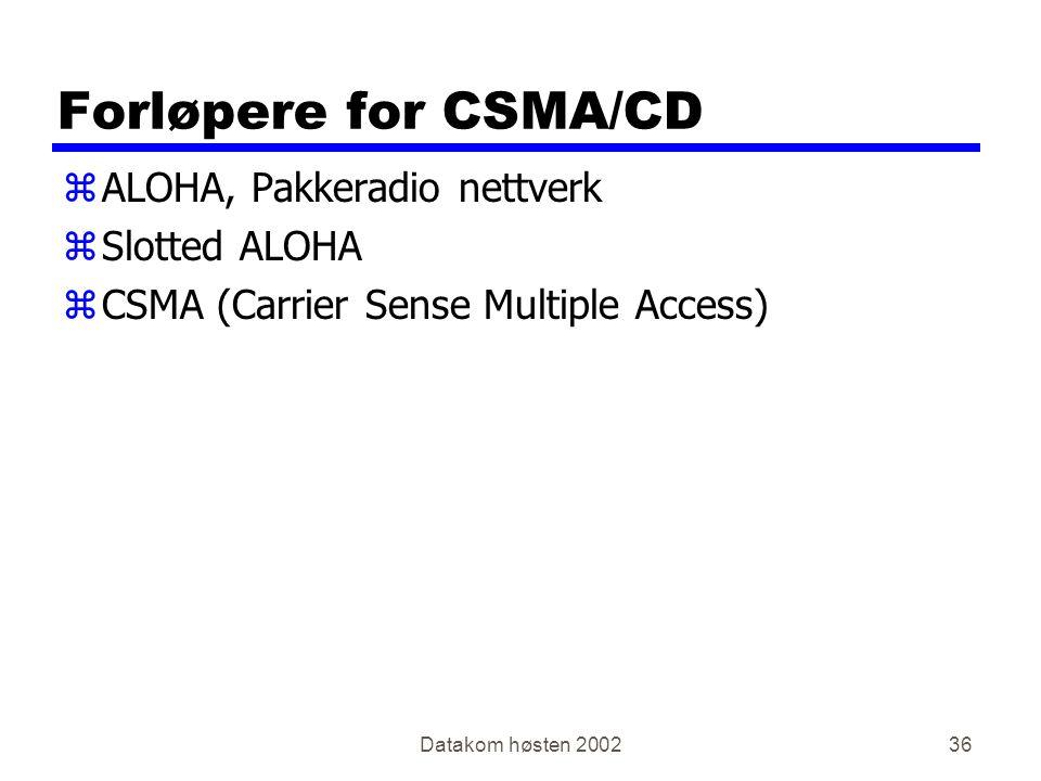 Datakom høsten 200236 Forløpere for CSMA/CD zALOHA, Pakkeradio nettverk zSlotted ALOHA zCSMA (Carrier Sense Multiple Access)
