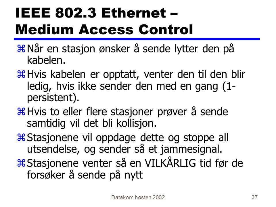 Datakom høsten 200237 IEEE 802.3 Ethernet – Medium Access Control zNår en stasjon ønsker å sende lytter den på kabelen.