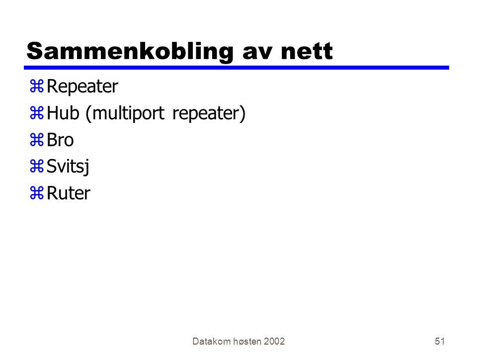 Datakom høsten 200251 Sammenkobling av nett zRepeater zHub (multiport repeater) zBro zSvitsj zRuter