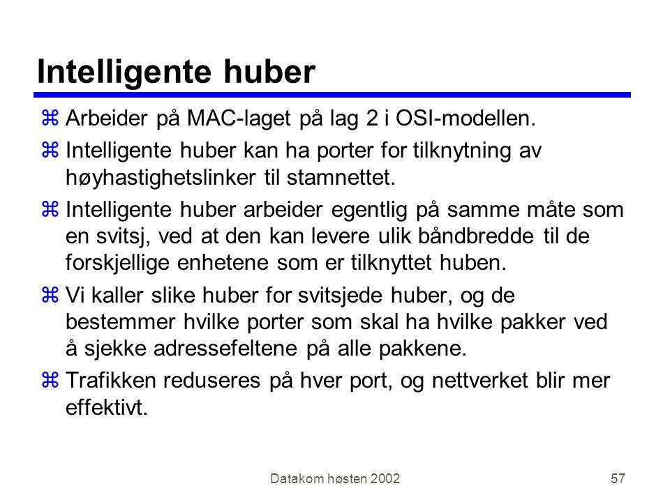 Datakom høsten 200257 Intelligente huber zArbeider på MAC-laget på lag 2 i OSI-modellen.