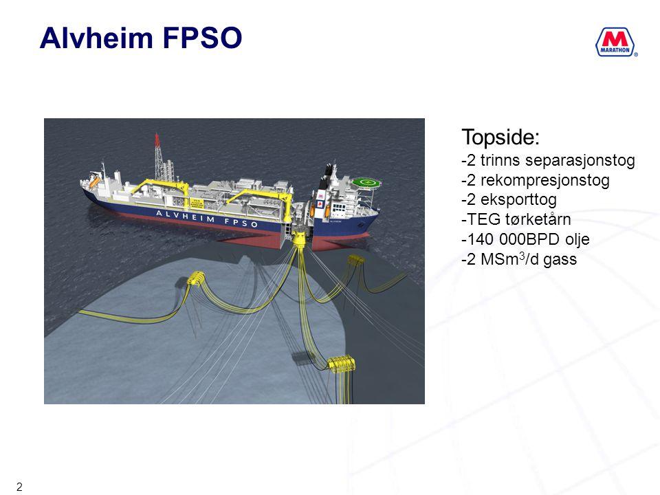 2 Alvheim FPSO Topside: -2 trinns separasjonstog -2 rekompresjonstog -2 eksporttog -TEG tørketårn -140 000BPD olje -2 MSm 3 /d gass