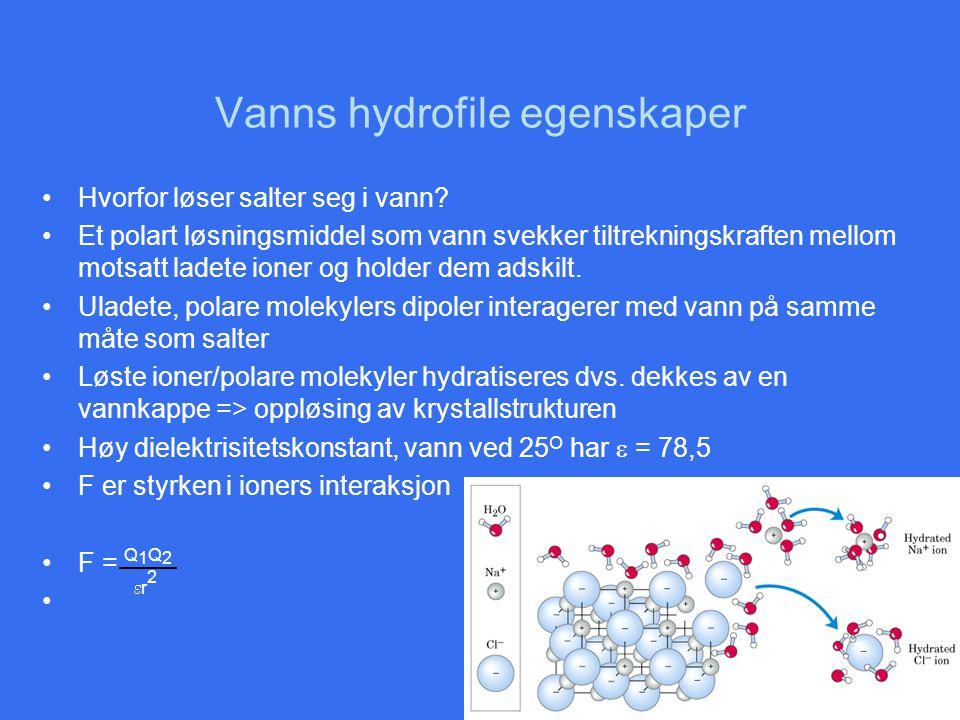 Vanns hydrofile egenskaper •Hvorfor løser salter seg i vann? •Et polart løsningsmiddel som vann svekker tiltrekningskraften mellom motsatt ladete ione