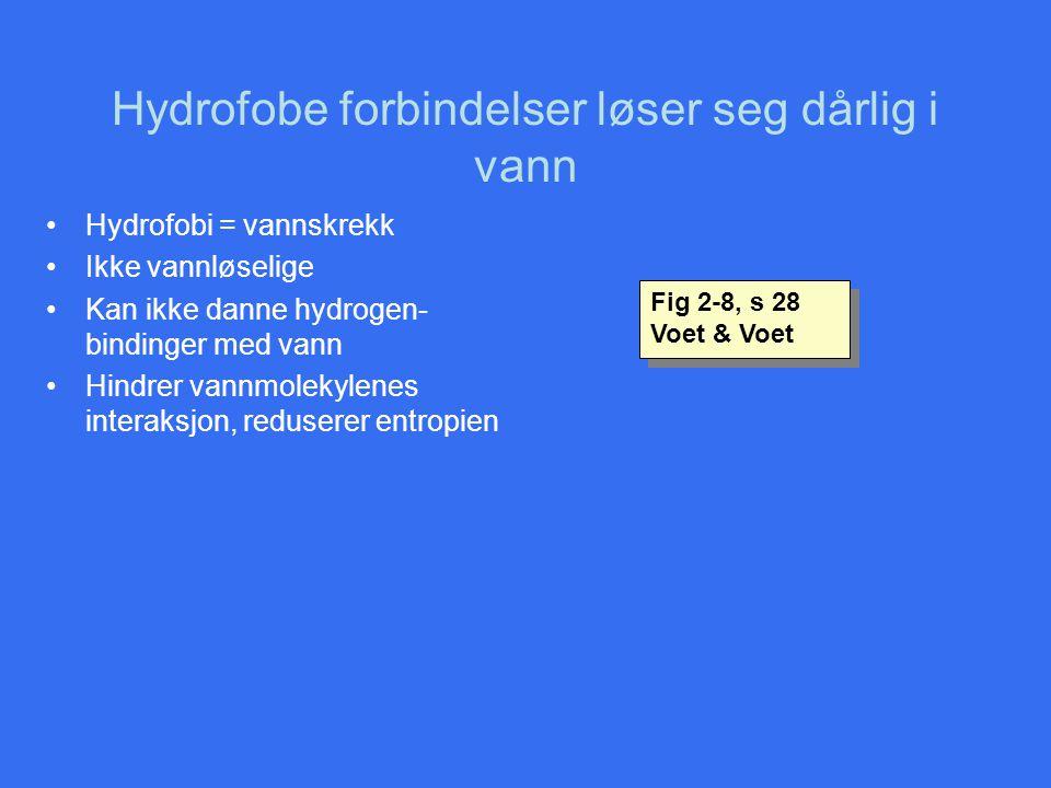 Hydrofobe forbindelser løser seg dårlig i vann •Hydrofobi = vannskrekk •Ikke vannløselige •Kan ikke danne hydrogen- bindinger med vann •Hindrer vannmo