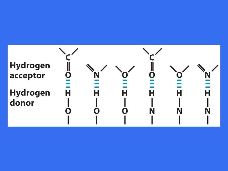 Hvert vannmolekyle danner hydrogenbinger med 4 andre vannmolekyler •Sterk tilbøyelighet til å henge sammen => –høyt smelte- og kokepunkt –stor overflatespenning •Hydrogenbindinger dannes og brytes hele tiden •Varighet ved romtemperatur er ca 10 -9 sekunder •Lav temp.