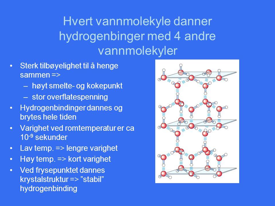 Hvert vannmolekyle danner hydrogenbinger med 4 andre vannmolekyler •Sterk tilbøyelighet til å henge sammen => –høyt smelte- og kokepunkt –stor overfla