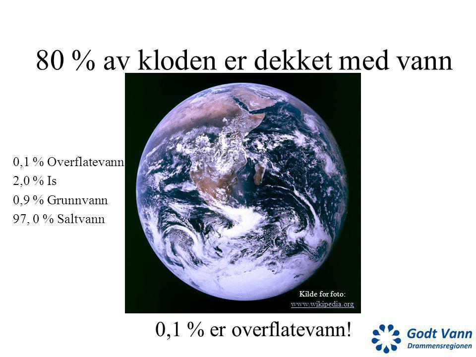 80 % av kloden er dekket med vann 0,1 % er overflatevann! 0,1 % Overflatevann 2,0 % Is 0,9 % Grunnvann 97, 0 % Saltvann Kilde for foto: www.wikipedia.