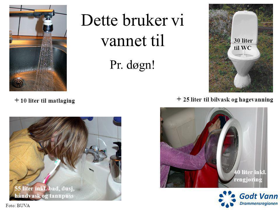Dette bruker vi vannet til 20 liter til oppvask 30 liter til WC 40 liter inkl. rengjøring 55 liter inkl. bad, dusj, håndvask og tannpuss + 10 liter ti