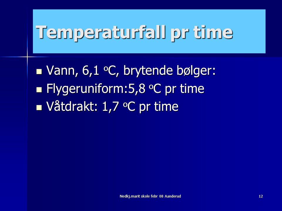 Nedkj.marit skole febr 08 Aanderud12 Temperaturfall pr time  Vann, 6,1 o C, brytende bølger:  Flygeruniform:5,8 o C pr time  Våtdrakt: 1,7 o C pr t