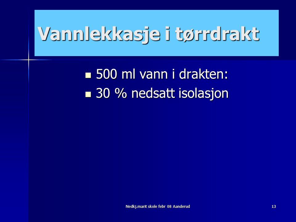 Nedkj.marit skole febr 08 Aanderud13 Vannlekkasje i tørrdrakt  500 ml vann i drakten:  30 % nedsatt isolasjon