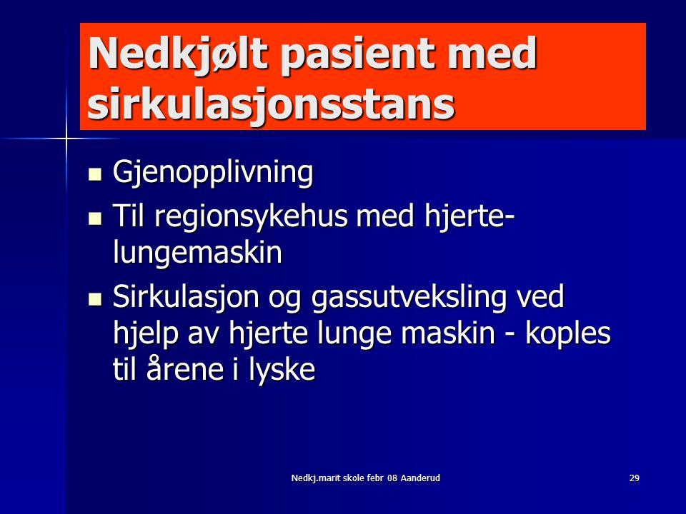 Nedkj.marit skole febr 08 Aanderud29 Nedkjølt pasient med sirkulasjonsstans  Gjenopplivning  Til regionsykehus med hjerte- lungemaskin  Sirkulasjon
