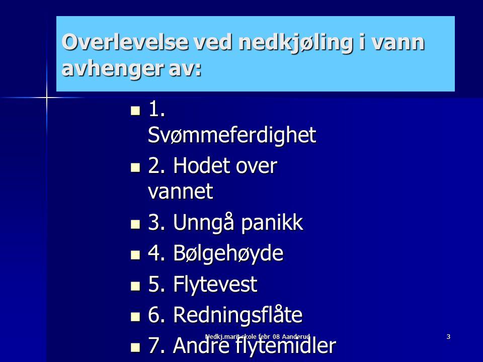 3 Overlevelse ved nedkjøling i vann avhenger av:  1. Svømmeferdighet  2. Hodet over vannet  3. Unngå panikk  4. Bølgehøyde  5. Flytevest  6. Red