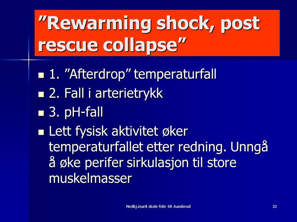 "Nedkj.marit skole febr 08 Aanderud32 ""Rewarming shock, post rescue collapse""  1. ""Afterdrop"" temperaturfall  2. Fall i arterietrykk  3. pH-fall  L"