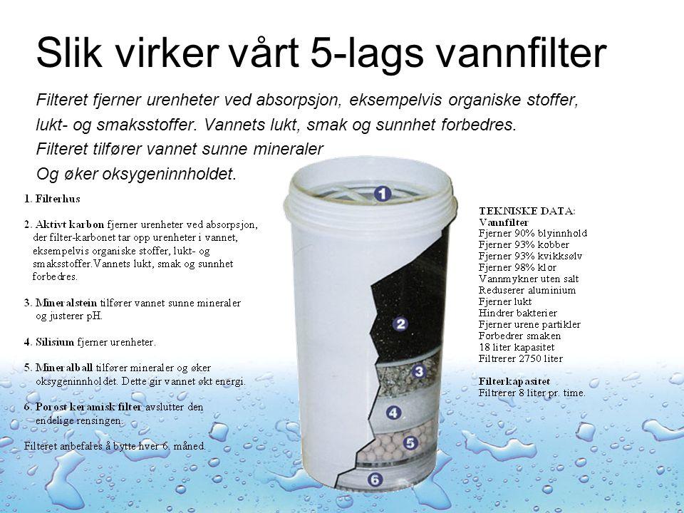 Slik virker vårt 5-lags vannfilter Filteret fjerner urenheter ved absorpsjon, eksempelvis organiske stoffer, lukt- og smaksstoffer.