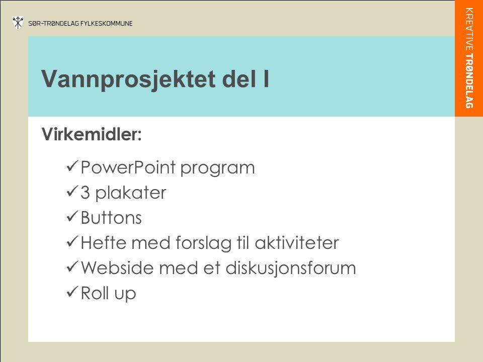 Vannprosjektet del I Virkemidler:  PowerPoint program  3 plakater  Buttons  Hefte med forslag til aktiviteter  Webside med et diskusjonsforum  R