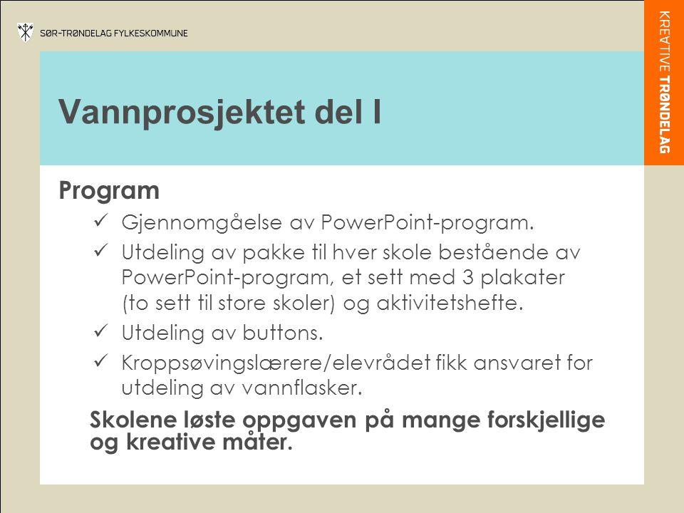 Vannprosjektet del I Program  Gjennomgåelse av PowerPoint-program.  Utdeling av pakke til hver skole bestående av PowerPoint-program, et sett med 3
