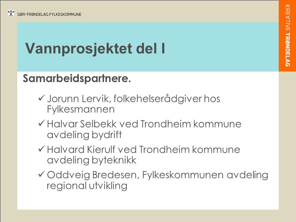Vannprosjektet del I Samarbeidspartnere.  Jorunn Lervik, folkehelserådgiver hos Fylkesmannen  Halvar Selbekk ved Trondheim kommune avdeling bydrift