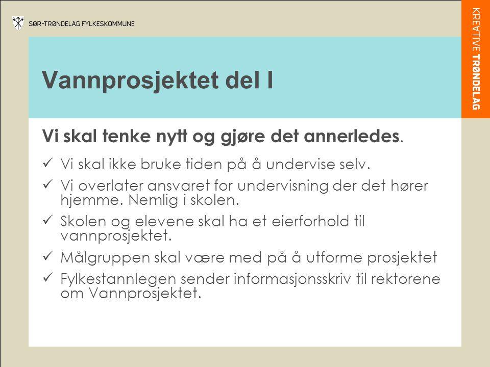 Vannprosjektet del I Virkemidler:  PowerPoint program  3 plakater  Buttons  Hefte med forslag til aktiviteter  Webside med et diskusjonsforum  Roll up