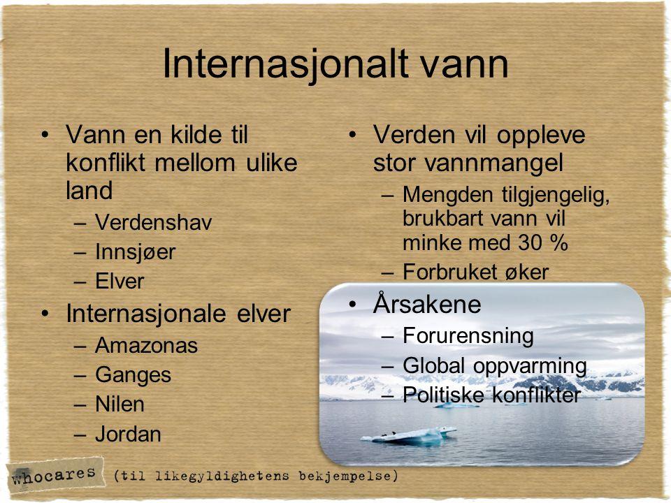 Internasjonalt vann •Vann en kilde til konflikt mellom ulike land –Verdenshav –Innsjøer –Elver •Internasjonale elver –Amazonas –Ganges –Nilen –Jordan