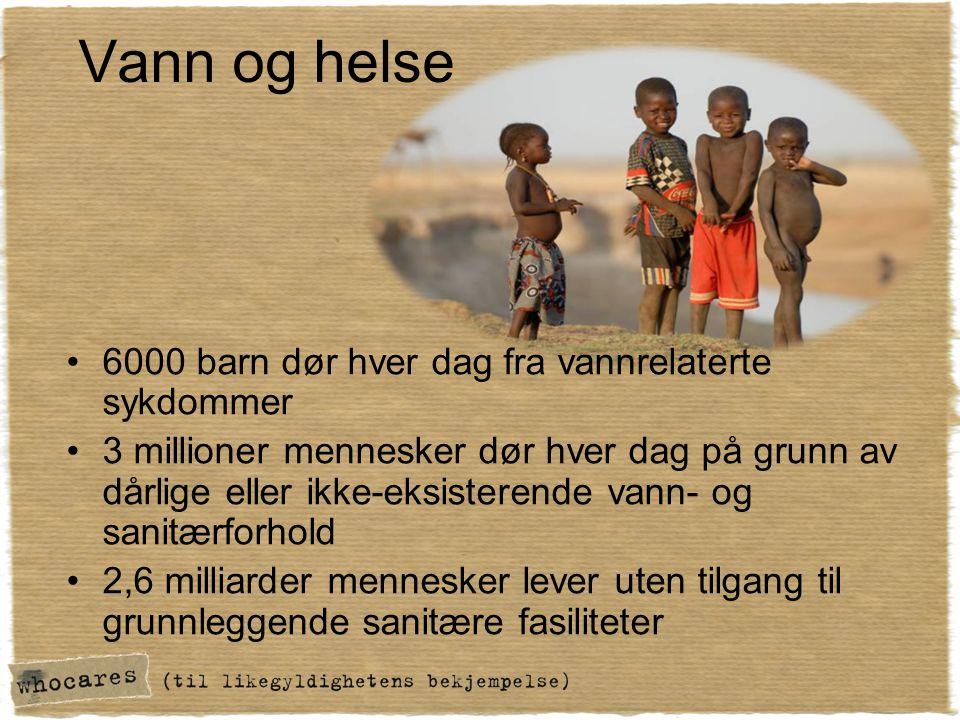 Vann og helse •6000 barn dør hver dag fra vannrelaterte sykdommer •3 millioner mennesker dør hver dag på grunn av dårlige eller ikke-eksisterende vann