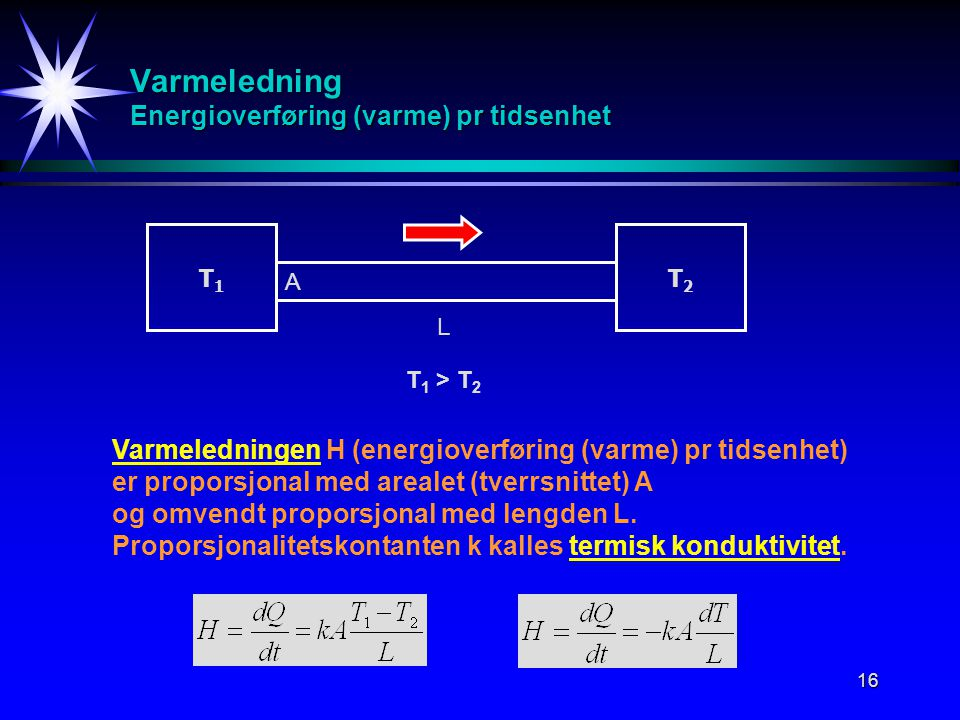 16 Varmeledning Energioverføring (varme) pr tidsenhet T1T1 T2T2 T 1 > T 2 L A Varmeledningen H (energioverføring (varme) pr tidsenhet) er proporsjonal