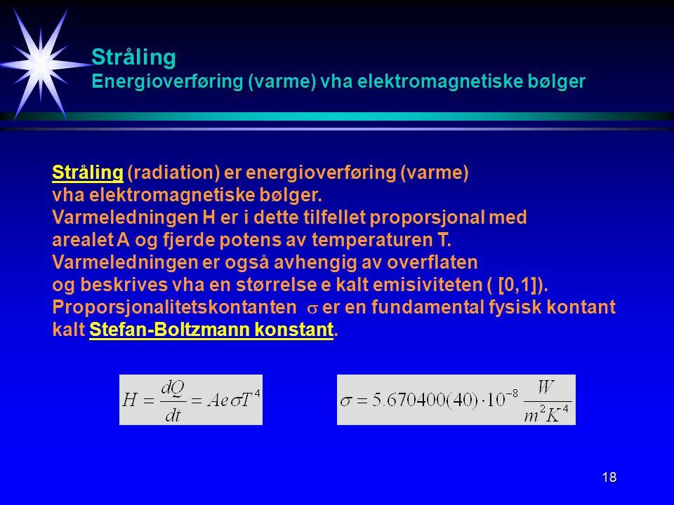 18 Stråling Energioverføring (varme) vha elektromagnetiske bølger Stråling (radiation) er energioverføring (varme) vha elektromagnetiske bølger. Varme