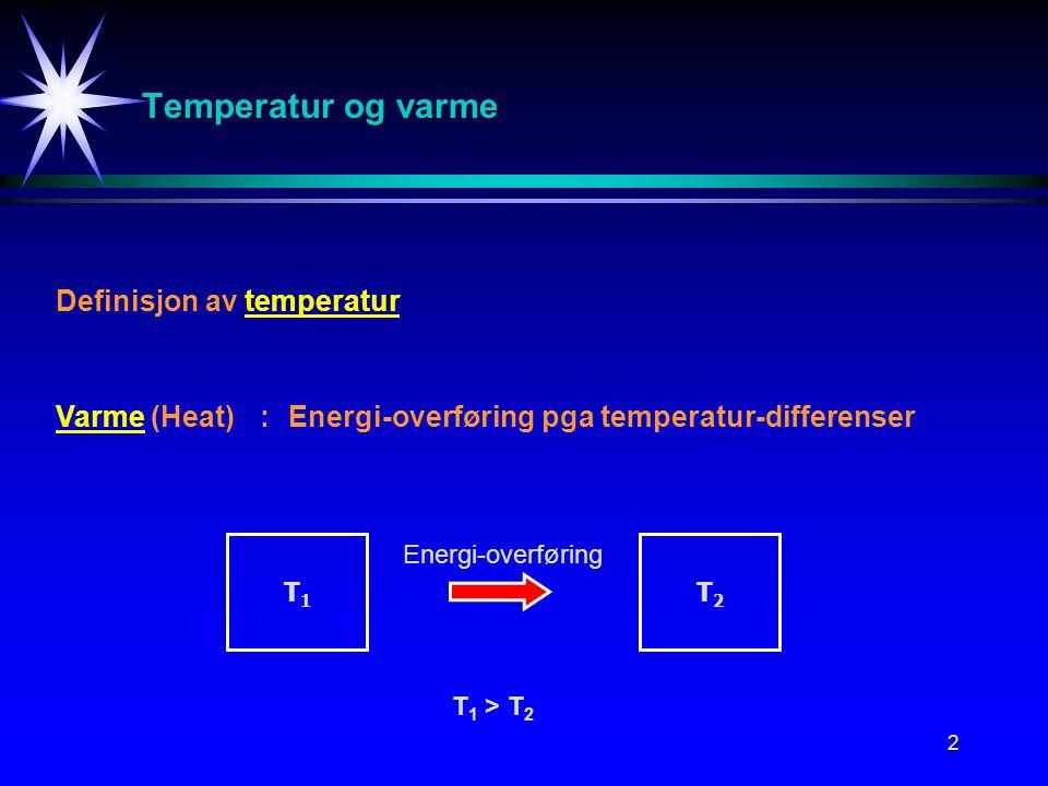 2 Temperatur og varme Definisjon av temperatur Varme (Heat):Energi-overføring pga temperatur-differenser T1T1 T2T2 T 1 > T 2 Energi-overføring