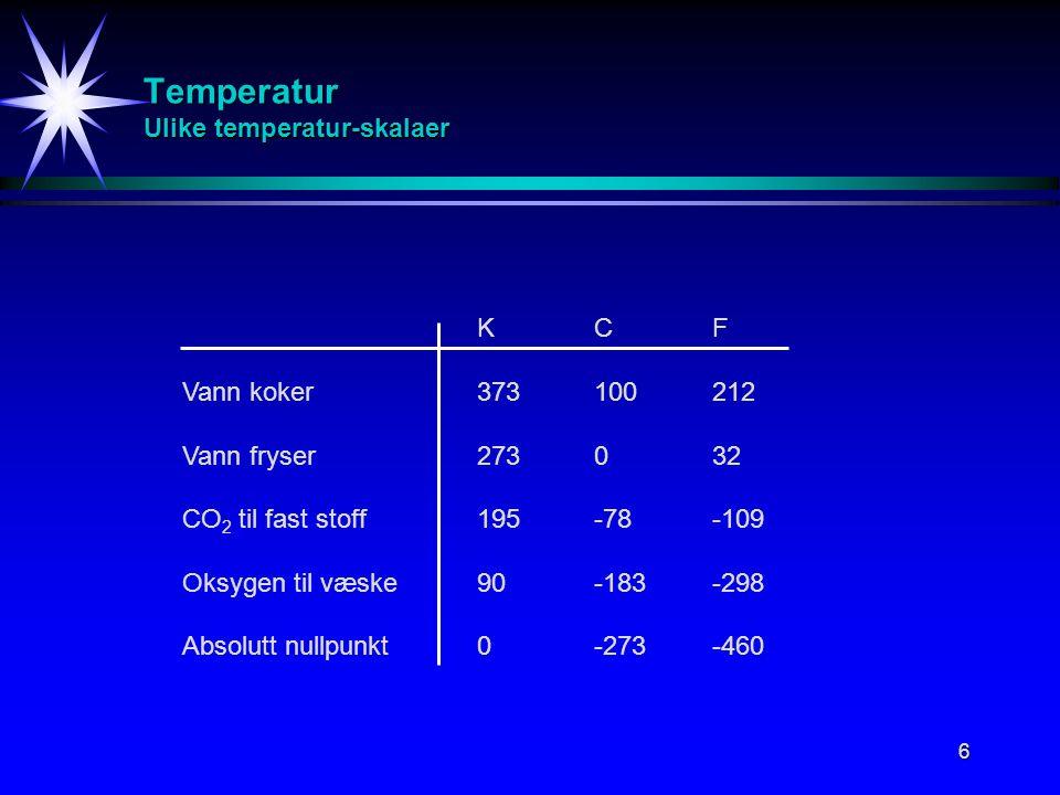 6 Temperatur Ulike temperatur-skalaer KCF Vann koker373100212 Vann fryser273032 CO 2 til fast stoff195-78-109 Oksygen til væske90-183-298 Absolutt nul