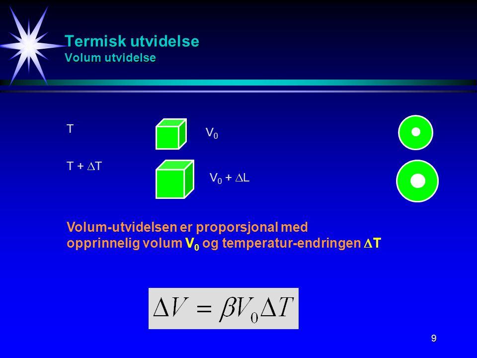 9 Termisk utvidelse Volum utvidelse T T +  T V0V0 V 0 +  L Volum-utvidelsen er proporsjonal med opprinnelig volum V 0 og temperatur-endringen  T