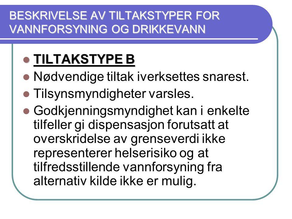 BESKRIVELSE AV TILTAKSTYPER FOR VANNFORSYNING OG DRIKKEVANN  TILTAKSTYPE B  Nødvendige tiltak iverksettes snarest.  Tilsynsmyndigheter varsles.  G