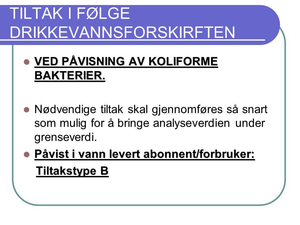 TILTAK I FØLGE DRIKKEVANNSFORSKIRFTEN  VED PÅVISNING AV KOLIFORME BAKTERIER.