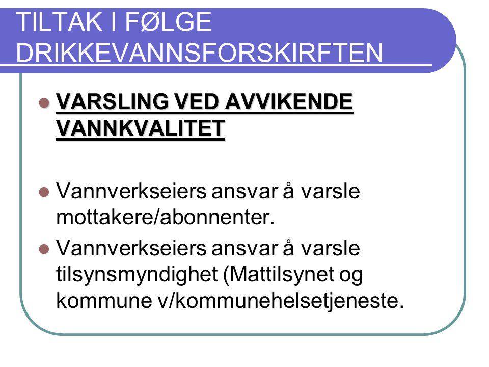 TILTAK I FØLGE DRIKKEVANNSFORSKIRFTEN  VARSLING VED AVVIKENDE VANNKVALITET  Vannverkseiers ansvar å varsle mottakere/abonnenter.
