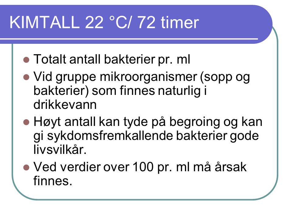 KIMTALL 22 °C/ 72 timer  Totalt antall bakterier pr.