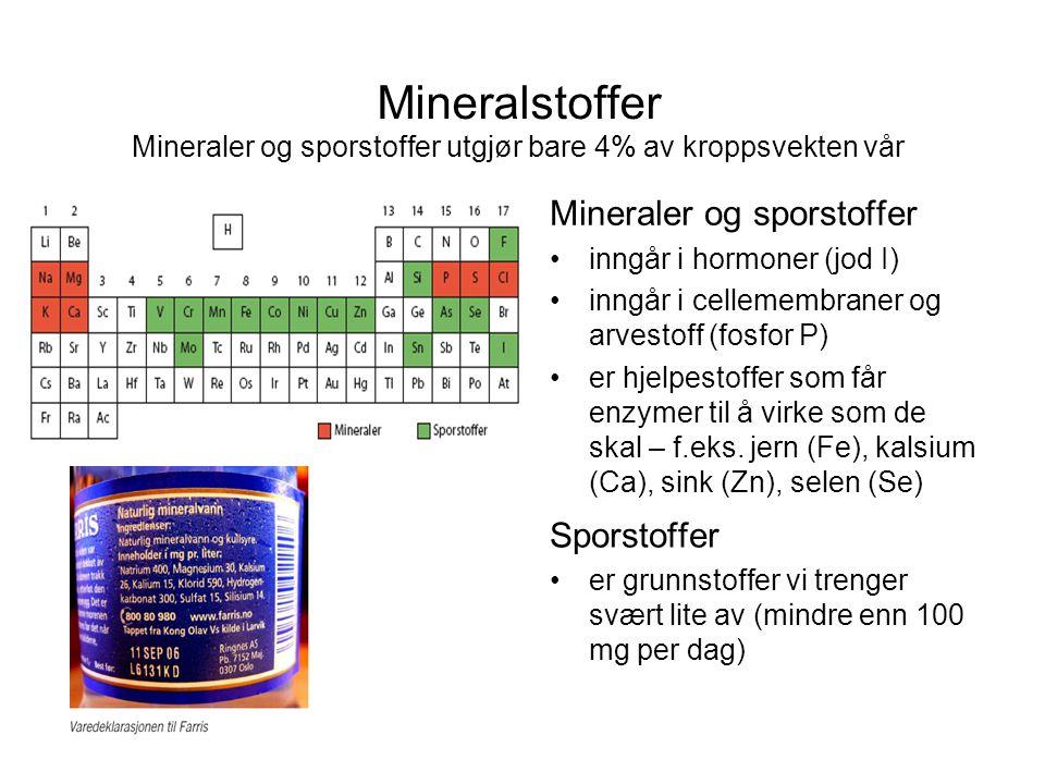 Mineralstoffer Mineraler og sporstoffer utgjør bare 4% av kroppsvekten vår Mineraler og sporstoffer •inngår i hormoner (jod I) •inngår i cellemembraner og arvestoff (fosfor P) •er hjelpestoffer som får enzymer til å virke som de skal – f.eks.