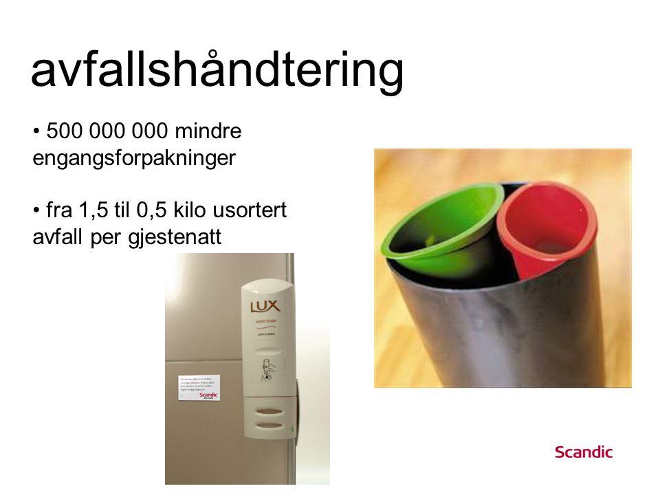 avfallshåndtering • 500 000 000 mindre engangsforpakninger • fra 1,5 til 0,5 kilo usortert avfall per gjestenatt