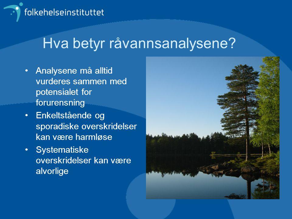 Hva betyr råvannsanalysene? •Analysene må alltid vurderes sammen med potensialet for forurensning •Enkeltstående og sporadiske overskridelser kan være
