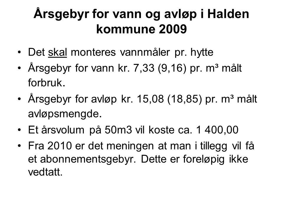 Årsgebyr for vann og avløp i Halden kommune 2009 •Det skal monteres vannmåler pr. hytte •Årsgebyr for vann kr. 7,33 (9,16) pr. m³ målt forbruk. •Årsge