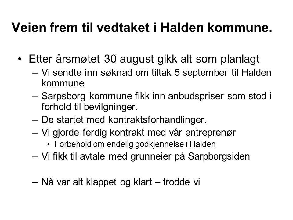 Veien frem til vedtaket i Halden kommune. •Etter årsmøtet 30 august gikk alt som planlagt –Vi sendte inn søknad om tiltak 5 september til Halden kommu