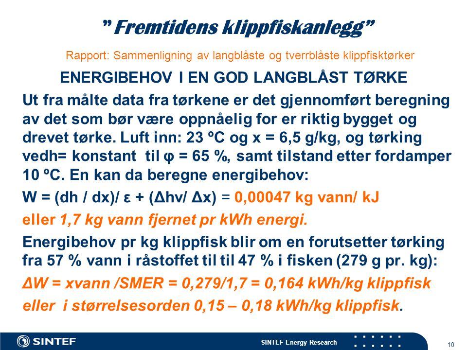 """SINTEF Energy Research 10 """"Fremtidens klippfiskanlegg"""" Rapport: Sammenligning av langblåste og tverrblåste klippfisktørker ENERGIBEHOV I EN GOD LANGBL"""
